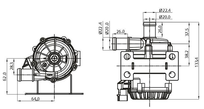 Intelligent toilet water pump VP80A size