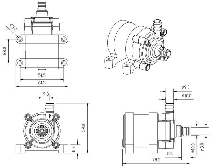 Water Circulation Pump VP40 size