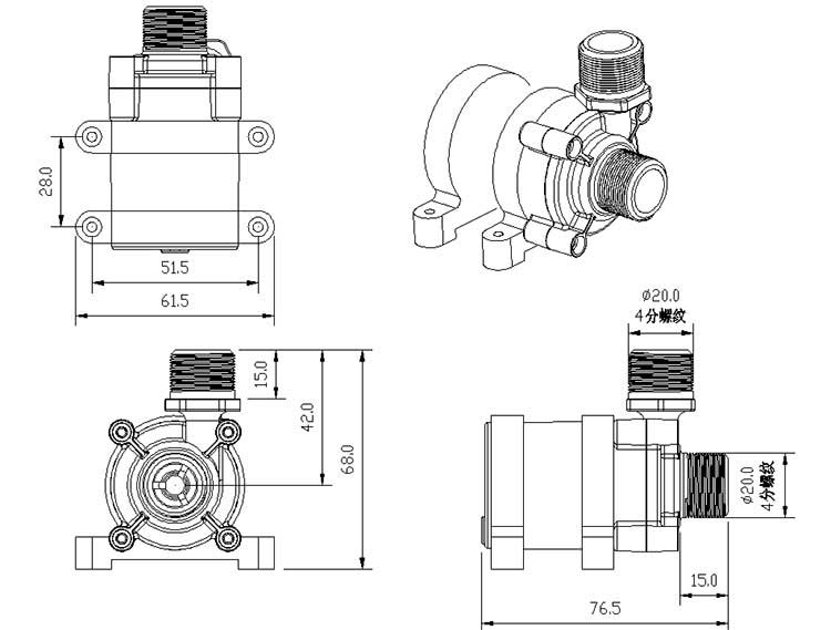 Electric Circulation Pump VP40F size