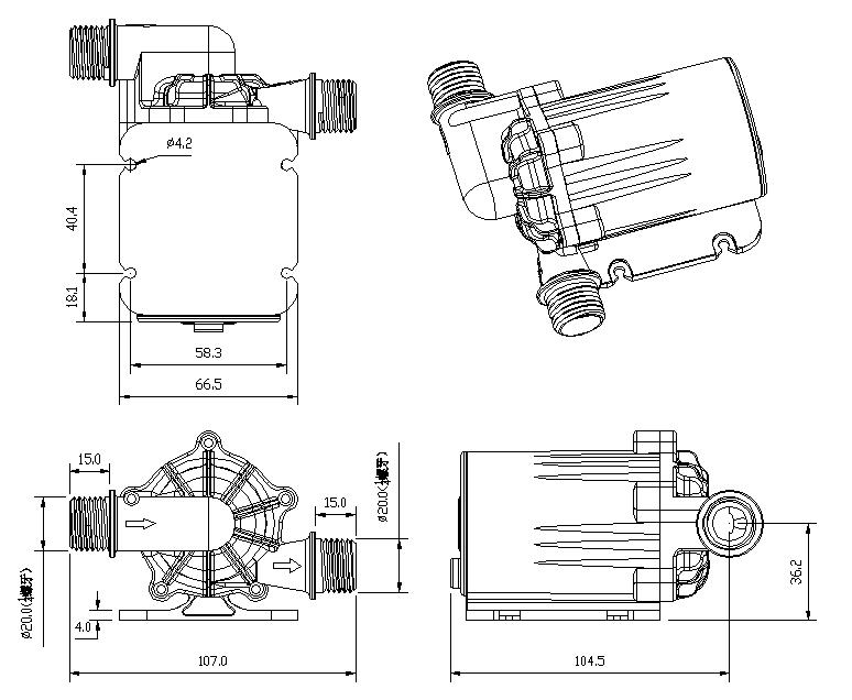 Solar Domestic Pump VP50 size