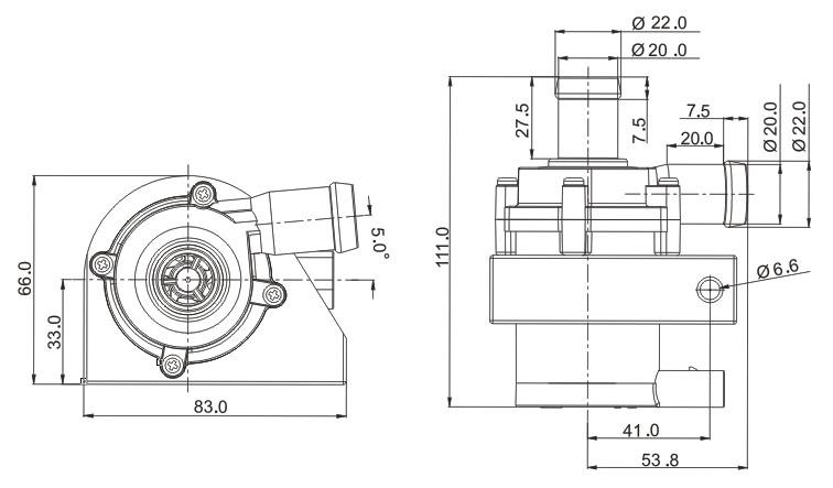 12v Electric Water Pump Motorcycle VP50N size