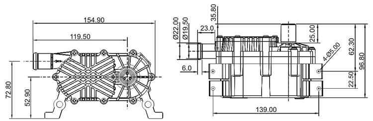 Laser Cutter Water Pump VP60F size