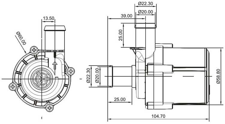 Dishwasher Circulation Pump VP60K size