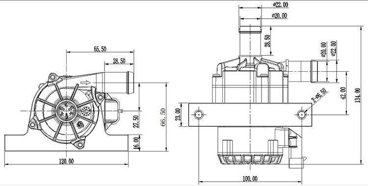 Race Car Electric Water Pump VP62E VP80C size