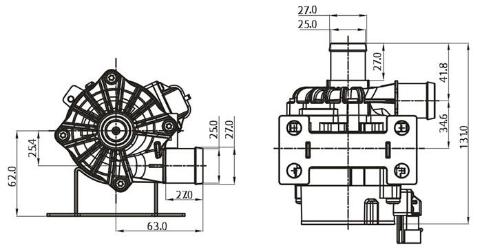 Auto Water Pump 12v VP80E Size