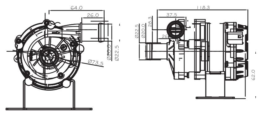 automotive coolant water-pump VP80B size