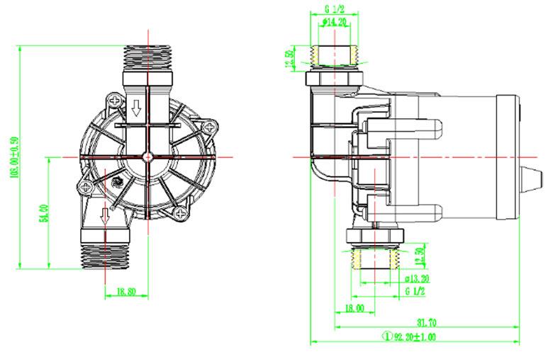 water heater pump vp60n size